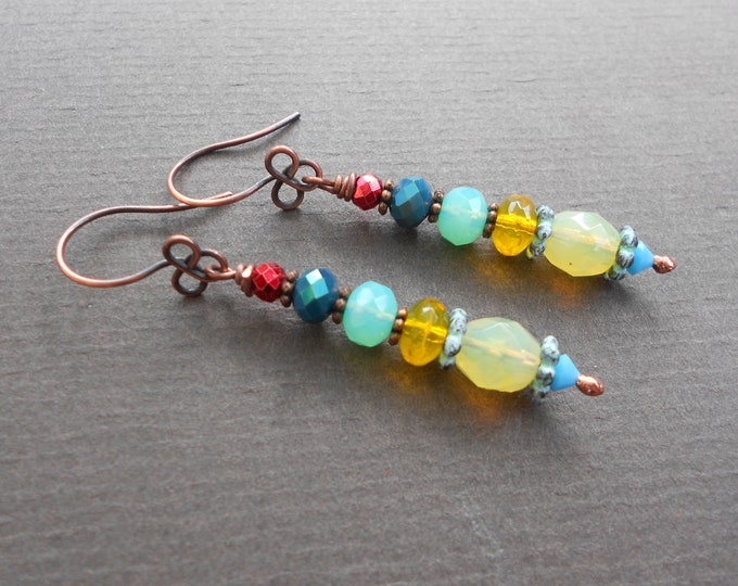 Summer earrings,Glass earrings,Drop earrings,Tropical earrings,OOAK earrings,Artisan earrings,Patina earrings,Boho earrings,Copper