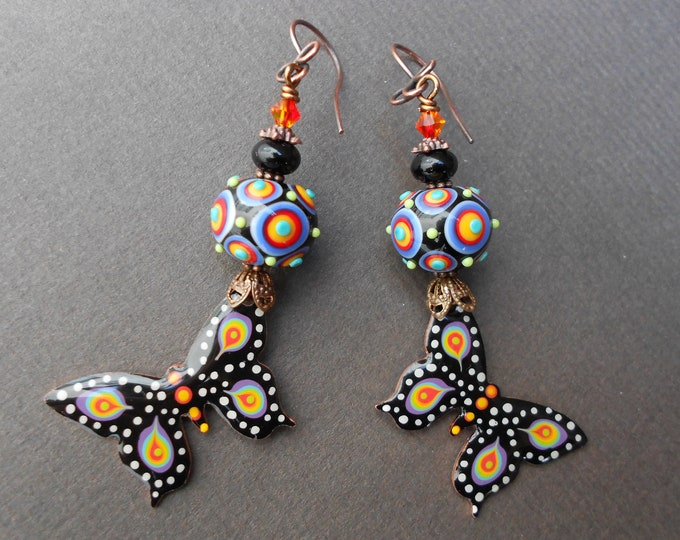 Butterfly earrings,Multicolour earrings,Lampwork earrings,Copper earrings,Resin earrings,Summer earrings,OOAK earrings,Boho earrings,Artisan
