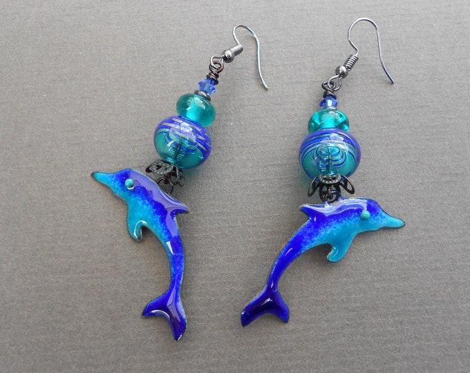 Dolphin earrings,Sea earrings,Tropical earrings,Enamelled copper earrings,Lampwork earrings,OOAK earrings,Enamel earrings,Glass earrings