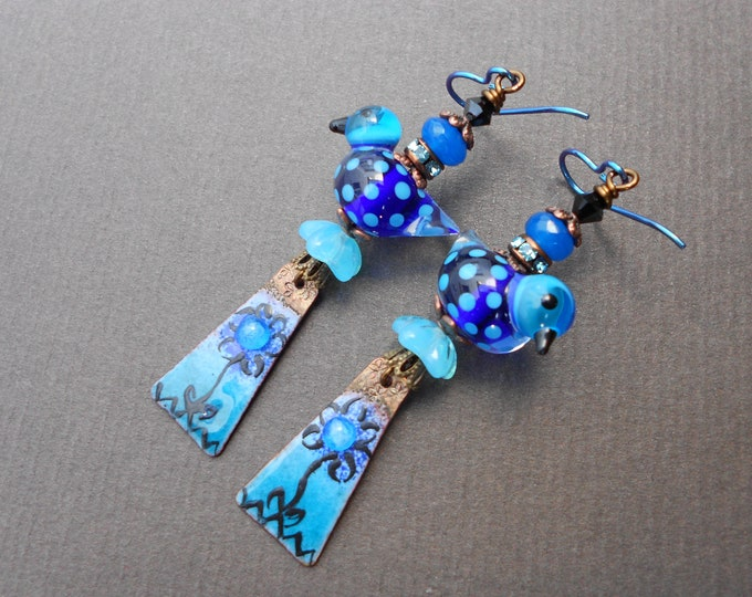 Bird earrings,Floral earrings,Bohemian earrings,Enamel Copper earrings,Summer earrings,Lampwork earrings,Niobium earrings,OOAK earrings
