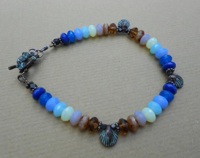 Beach bracelet,Shell bracelet,Sea bracelet,Shell bracelet,Boho bracelet,Beaded bracelet,Charm bracelet,tropical bracelet,Ombre bracelet,OOAK