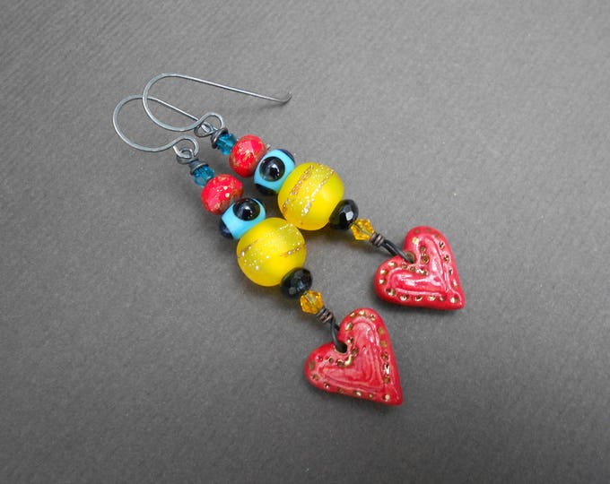 Heart earrings,Artisan Lampwork earrings,Boho earrings,Multicolour earrings,Glass earrings,Ooak Earrings,Ceramic earrings,Drop earrings