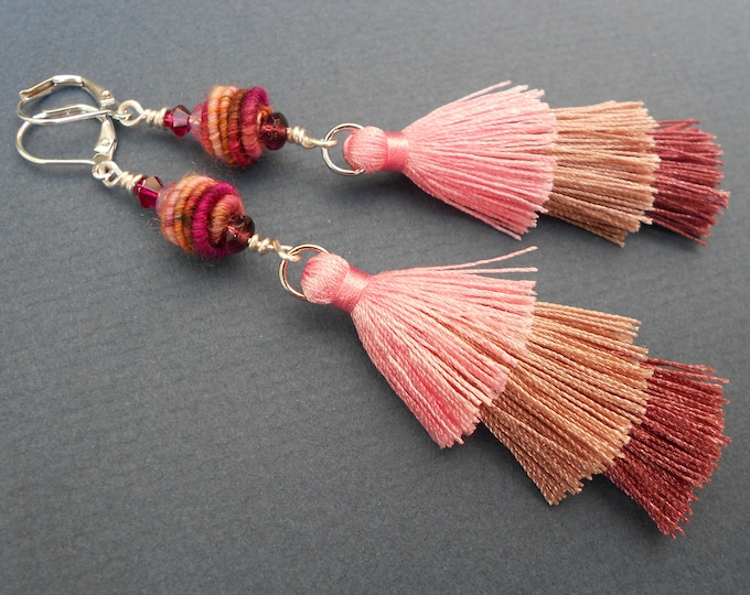 Long earrings,Boho earrings,Multicolour earrings,Ombre earrings,Fabric earrings,Tassel earrings,Pink earrings,Textile earrings