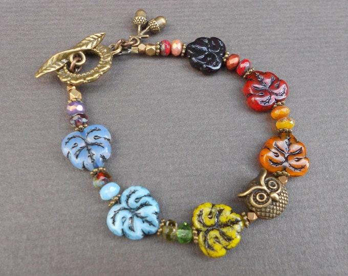 Autumn bracelet,Owl bracelet,Leaf bracelet,Rainbow bracelet,Glass bracelet,Beaded bracelet,OOAK bracelet,Artisan bracelet,Brass bracelet