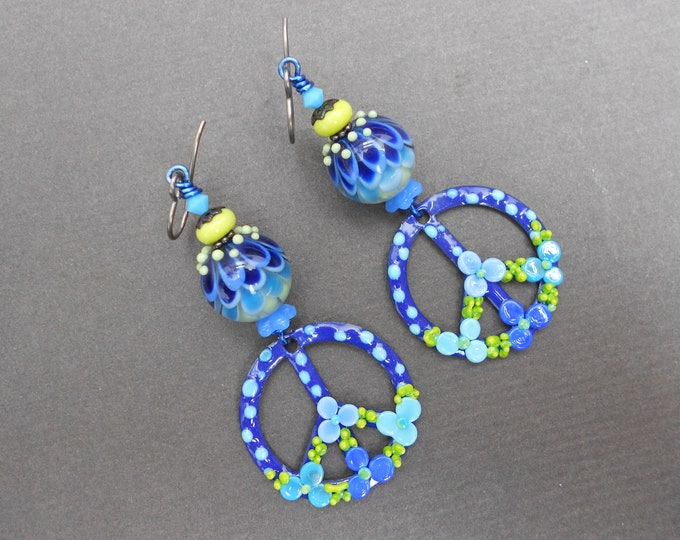 Peace Sign earrings,Floral earrings,Hippie earrings,Enamelled copper earrings,Lampwork earrings,Niobium earrings,OOAK earrings,Boho earrings