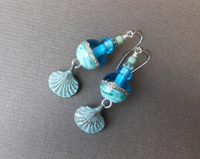 Boho earrings,Sea earrings,Beach earrings,Tropical earrings,Shell earrings,Mykonos earrings,Lampwork earrings,Nautical earrings,Shell drops