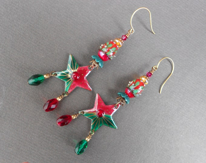 Star earrings,Christmas earrings,Boho earrings,OOAK earrings,Lampwork earrings,Enamel earrings,Copper earrings,Long earrings,Glass earrings