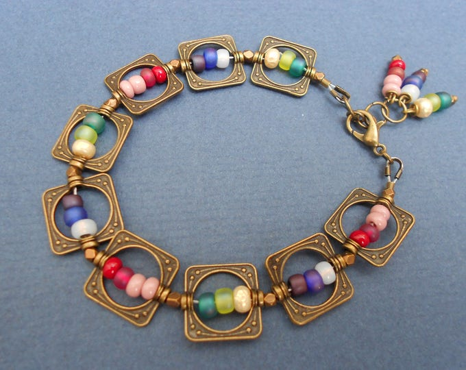 Boho Bracelet,Rainbow bracelet, Minimalist bracelet,Seed bead bracelet, Multicolour bracelet,Geometric bracelet,