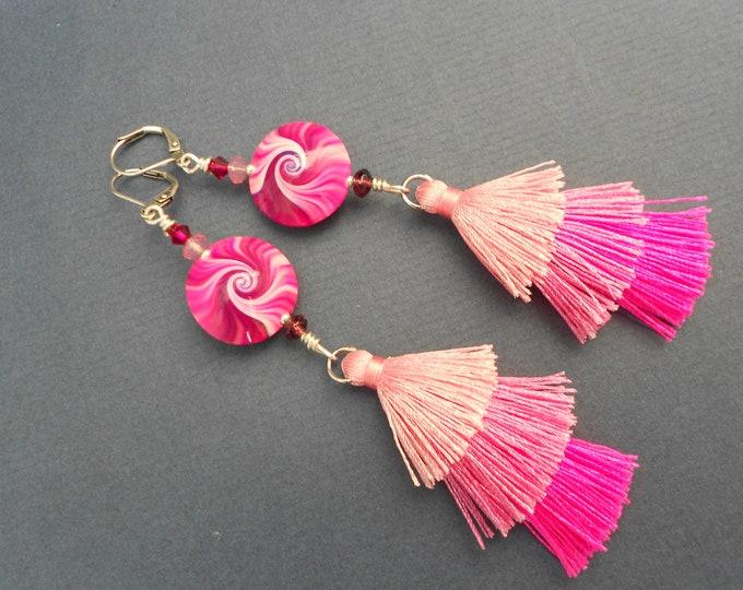 Ombre earrings,Pink earrings,Swirl earrings,Polymer clay earrings,Boho earrings,Multicolour earrings,Tassel earrings,Fabric earrings