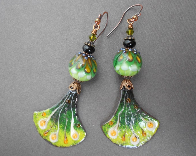 Bohemian earrings,Enamelled copper earrings,Enamel earrings,Floral earrings,Copper earrings,Lampwork earrings,OOAK earrings,Fan earrings