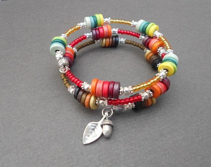 Autumn bracelet,Memory bracelet,Charm bracelet,Ceramic bracelet,Multiwrap bracelet,Multicolour bracelet,Boho bracelet,Beaded bracelet