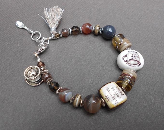 Coffee Lover bracelet,Barista bracelet,Agate bracelet,Charm bracelet,Tassel bracelet,Lampwork bracelet,Ceramic bracelet,Beaded bracelet,OOAK