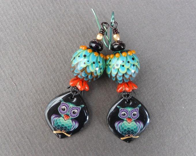 Boho earrings,Owl earrings,Lampwork earrings,OOAK earrings,Autumn earrings,Resin earrings,Polymer clay earrings,Niobium earrings,Artisan