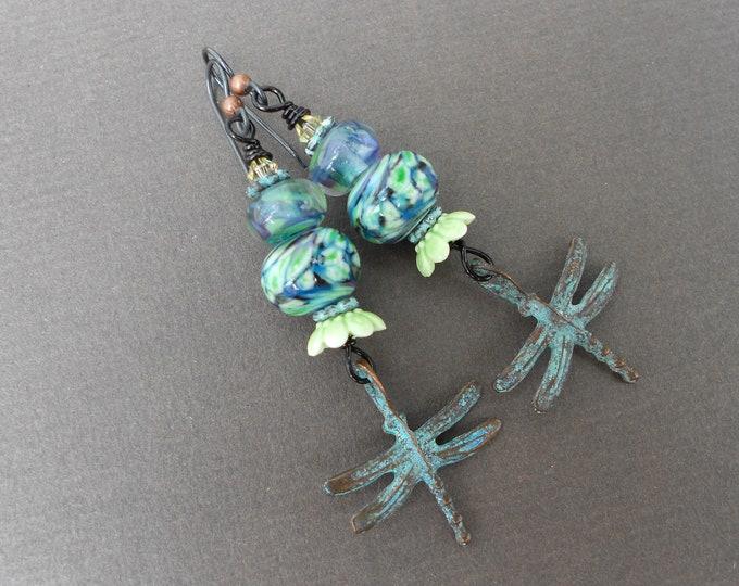 Dragonfly earrings,Lampwork earrings,Glass earrings,Boho earrings,Dangle earrings,Multicolour earrings,Summer earrings,Niobium earrings