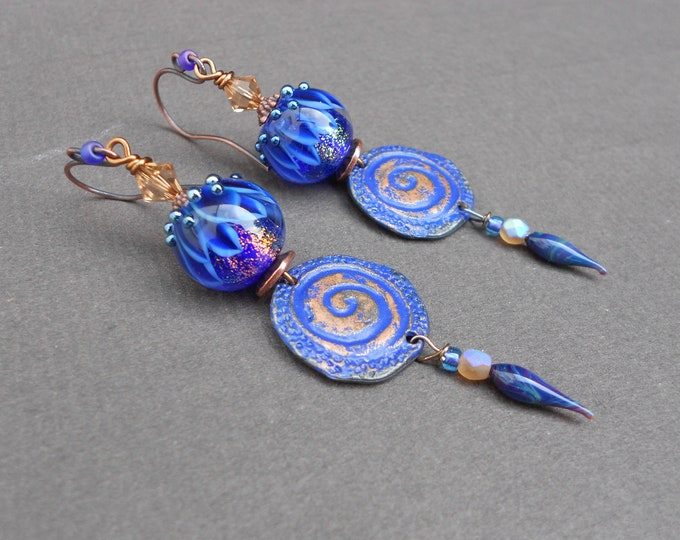 Tribal earrings,Tropical earrings,Bohemian earrings,Lampwork earrings,Swirl earrings,OOAK earrings,Drop earrings,Artisan earrings,Boho