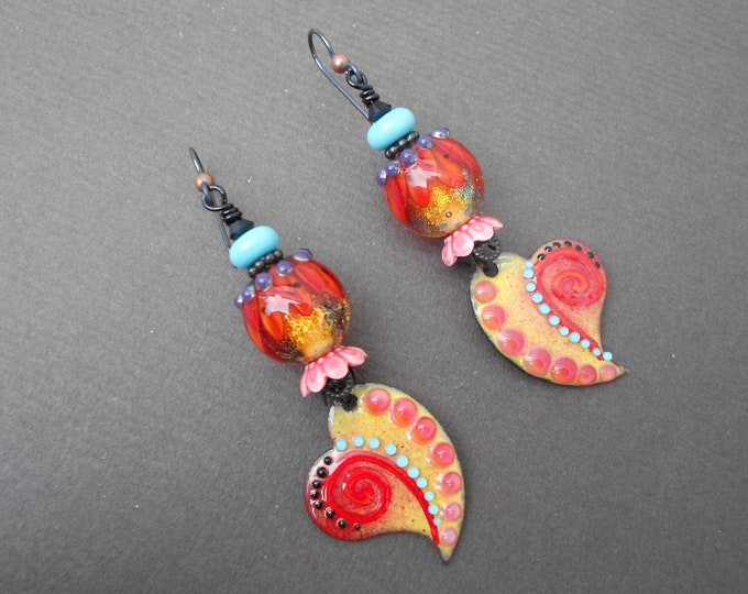 Boho earrings,Romantic earrings,Heart earrings,OOAK earrings,Lampwork earrings,Enamel earrings,Niobium earrings,Artisan earrings