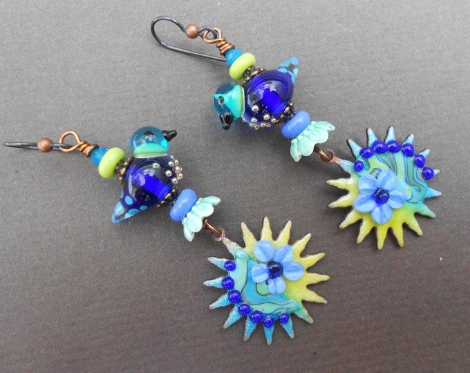 Boho earrings,Sun earrings,Bird earrings,Floral earrings,Enamel earrings,Lampwork earrings,OOAK earrings,Niobium earrings,Flower earrings