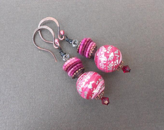 Ombre earrings,Boho earrings,Polymer clay earrings,Fabric earrings,Textile earrings,Pink earrings,Multicolour earrings,Dangle earrings