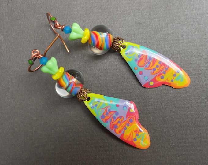 Butterfly wing earrings,Hippie earrings,Rainbow earrings,Resin earrings,Painted earrings,Lampwork earrings,Copper earrings,OOAK earrings