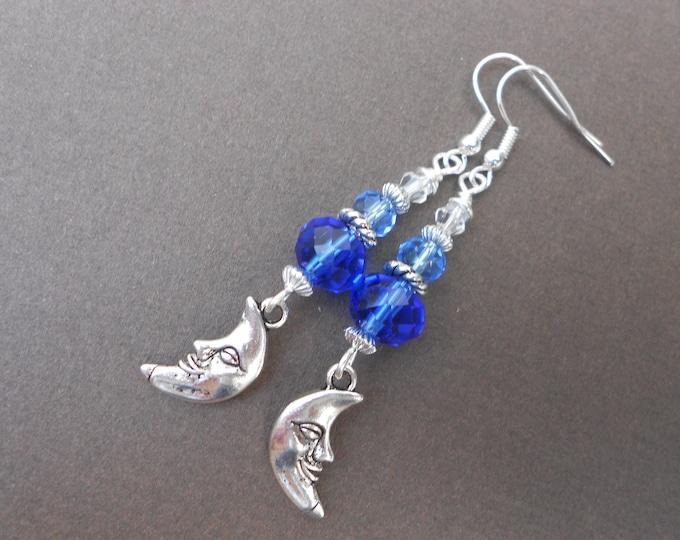 Celestial earrings,Moon earrings,Glass earrings,Dangle earrings,Blue earrings,Boho earrings,Ombre earrings,Blue earrings,Drop earrings