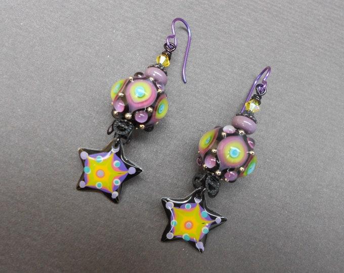 Boho earrings,Resin earrings,Star earrings,Lampwork earrings,OOAK earrings,Celestial earrings,Artisan earrings,Niobium earrings,Multicolour