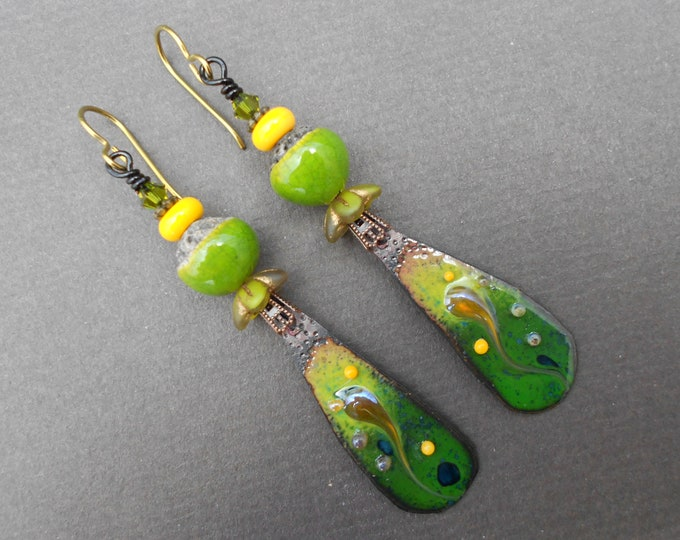Boho earrings,Ombre earrings,Ceramic earrings,Enamel earrings,Lampwork earrings,OOAK earrings,Artisan earrings,Niobium earrings