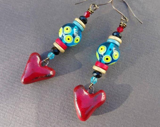 Boho earrings,Multicolour earrings,Artisan Lampwork earrings,long earrings, dangling earrings,drop earrings,ceramic earrings,heart earrings