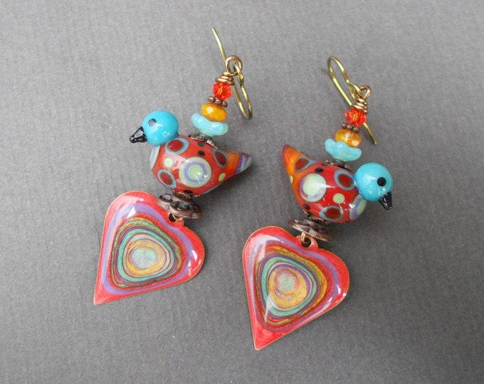 Bird earrings,Romantic earrings,Heart earrings,Lampwork earrings,Resin earrings,Painted earrings,Niobium earrings,Brass earrings,OOAK,Hippie