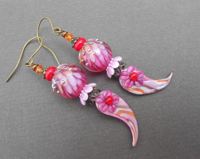 Boho earrings,Floral earrings,Flower earrings.Enamel earrings,Lampwork earrings,OOAK earrings,Dangle earrings,Multicolour earrings
