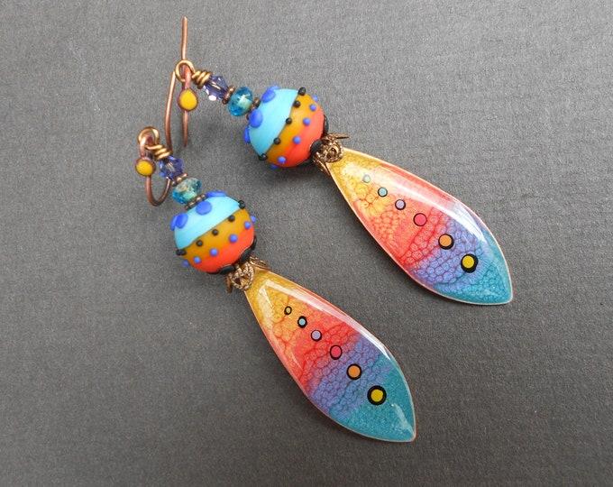 Abstract earrings,Painted earrings,Resin earrings,Lampwork earrings,Multicolour earrings,OOAK earrings,Copper earrings,Glass earrings,Boho