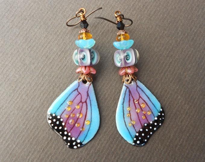 Summer earrings,Butterfly Wing earrings,Enamelled copper earrings,Niobium earrings,Lampwork earrings,Floral earrings,OOAK earrings,Boho,Long