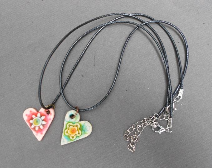 Heart pendant,Floral pendant,Choker necklace,Polymer clay pendant,OOAK pendant,Summer pendant,Clay pendant necklace,Boho pendant,Romantic