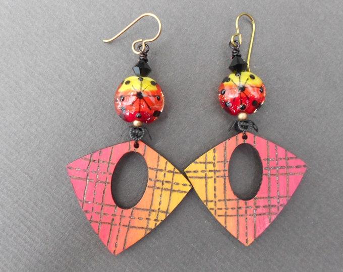 Abstract earrings,Wooden earrings,Pyrography earrings,Painted earrings,Lampwork earrings,Niobium earrings,OOAK earrings,Glass earrings,Boho