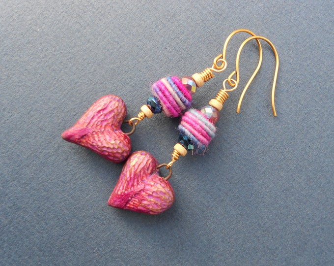 Boho earrings,Heart earrings,Romantic earrings,Fabric earrings,Multicolour earrings,Drop earrings,Ceramic Earrings,OOAK earrings,Valentines