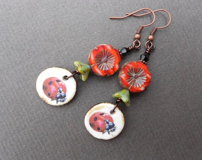 Ladybug earrings,Ladybird earrings,Flower earrings,Ceramic earrings,Glass earrings,Summer earrings,Floral earrings,Boho earrings,OOAK drops