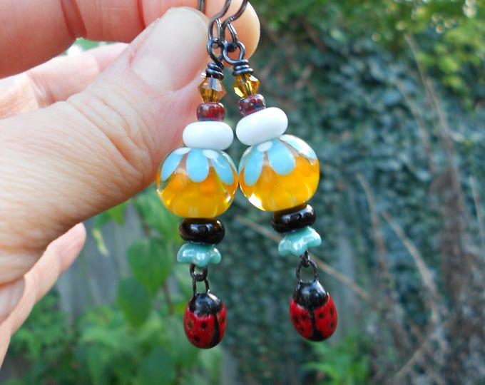 Boho earrings,Artisan Lampwork earrings,Multicolour earrings,Ladybug earrings,Ladybird earrings,Ooak earrings,Ceramic earrings,Drop earrings