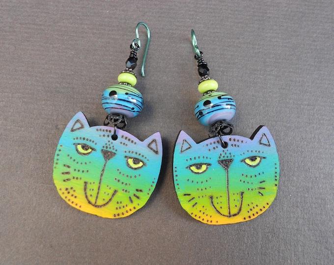 Cat earrings,Statement earrings,Rainbow earrings,Ombre earrings,Lampwork earrings,Wooden earrings,OOAK earrings,Niobium earrings,Pyrography