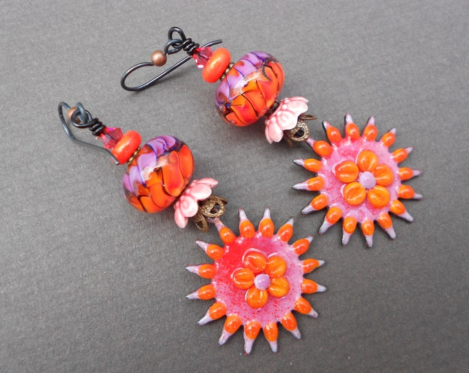 Boho earrings,Flower earrings,OOAK earrings,Sunburst earrings,Enamel earrings,Lampwork earrings,Niobium earrings,Artisan earrings,Ceramic