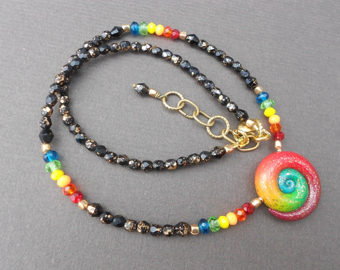 Boho necklace,Rainbow necklace,Pendant necklace,Beaded necklace,Swirl necklace,Ombre necklace,Polymer clay necklace,Glass necklace,OOAK