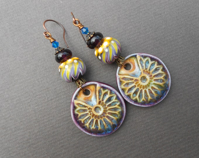 Boho earrings,Floral earrings,Ceramic earrings,Lampwork earrings,OOAK earrings,Summer earrings,Artisan earrings,Porcelain earrings,Flowers