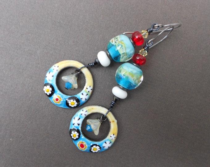 Boho earrings,Summer earrings,Enamel earrings,Lampwork earrings,Hoop earrings,Floral earrings,Flower earrings,OOAK earrings,Dangle earrings