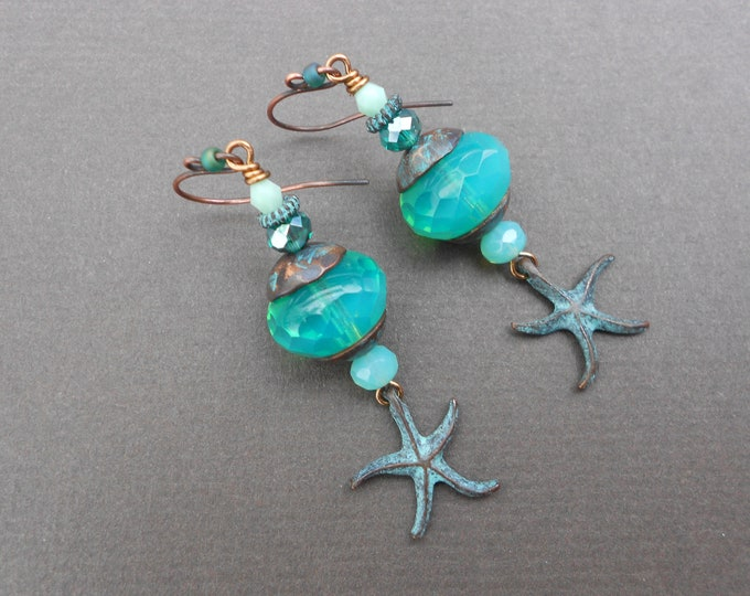 Starfish earrings,Beach earrings,Tropical earrings,Sea earrings,Glass earrings,Copper earrings,Patina earrings,Boho earrings,Artisan,OOAK