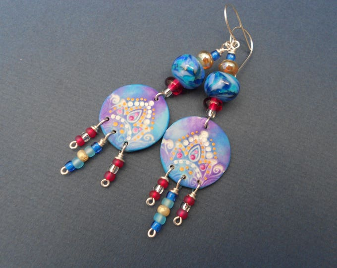Long Earrings,Boho Earrings,Oriental Earrings,Dangle Earrings,Polymer clay earrings,Artisan Lampwork earrings,Multicolour earrings,Ooak