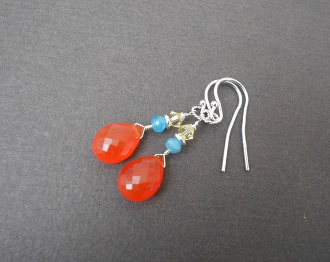 Carnelian earrings,Apatite earrings,Drop earrings,Gemstone earrings,Sterling silver earrings,Boho earrings,Red earrings,Dangle earrings