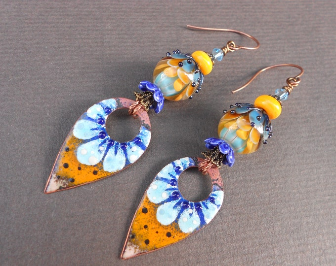 Boho earrings,Flower earrings,Floral earrings,Long earrings,Enamel earrings,Lampwork earrings,Summer earrings,OOAK earrings,Copper earrings