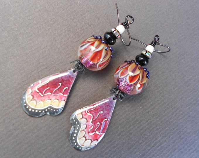 Butterfly wing earrings,Wing earrings,Butterfly earrings,Enamelled copper earrings,Enamel earrings,Lampwork earrings,OOAK earrings,Artisan
