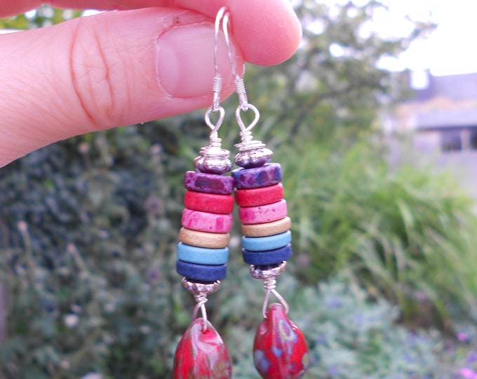 Rainbow earrings,Multicolour earrings,Glass earrings,Ceramic earrings,Boho earrings,Drop earrings,Long earrings,Gay pride earrings