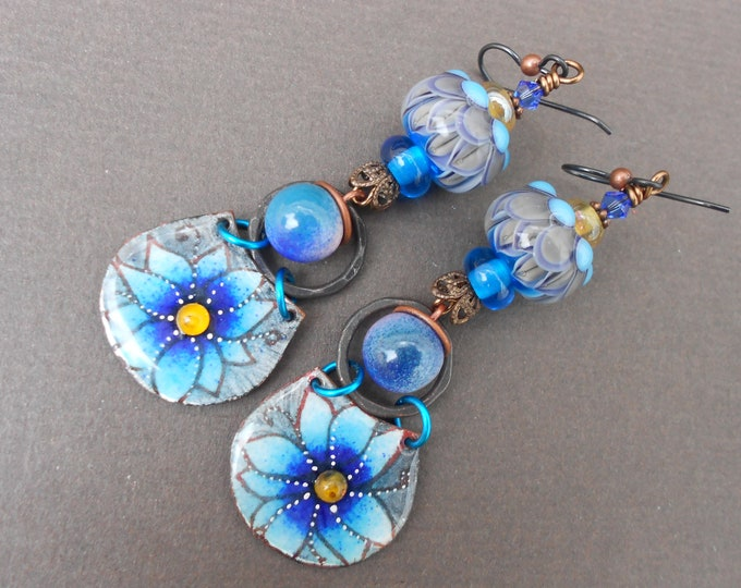 Boho earrings,Flower earrings,OOAK earrings,Long earrings,Lampwork earrings,Enamel earrings,Niobium earrings,Artisan earrings,Floral