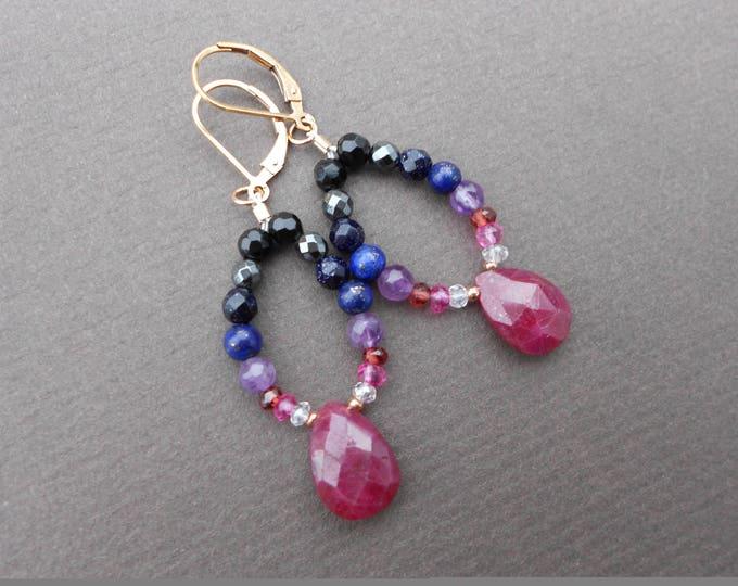 Ruby Earrings,Gemstone Earrings,Purple earrings,Boho earrings,Prom Earrings,Multicolour Earrings,Ombre earrings,lapis earrings,Drop Earrings