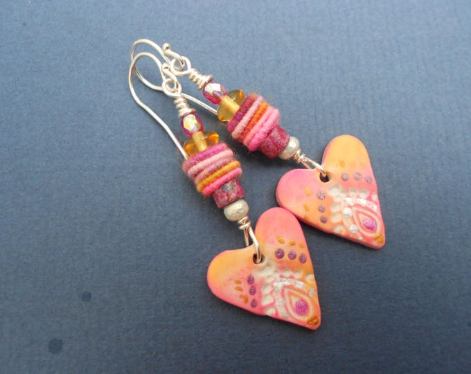 Heart earrings,Boho earrings,Pink earrings,Multicolour earrings,Polymer clay earrings,Textile earrings,Fabric earrings,Drop earrings